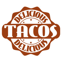 Delicious tacos stamp or label
