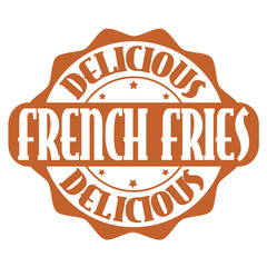 Delicious french fries stamp or label