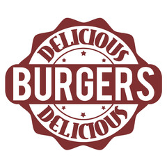 Delicious burgers stamp or label