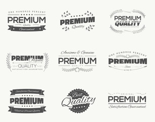 Vintage premium quality black vector labels and badges set
