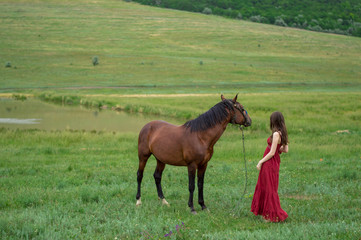 Girl and horse looking far