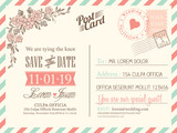 Fototapety Vintage postcard background for wedding invitation