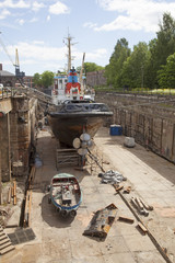 ship in dock on the island of suomenlinna near helsinki