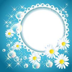 Openwork frame with daisy and bubbles