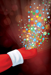Vector Santa Claus hand with colorful lights and stars on red bo