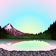 Pnk mountain at sunset