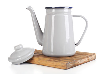 Grey teapot isolated on white