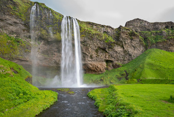 Wide view of Seljalandsfoss, the waterfall in southern Iceland