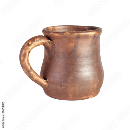 canvas print picture Old clay beer mug isolated on white