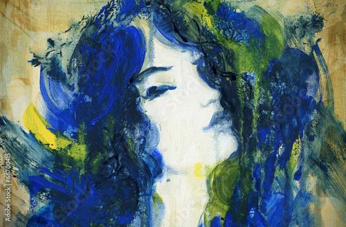 In de dag Aquarel Gezicht woman portrait .abstract watercolor