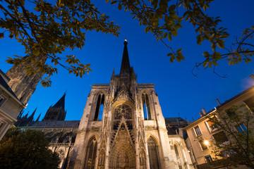 Famous Notre-Dame de Rouen cathedral at twilight