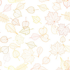 Seamless autumn leaves pattern template.