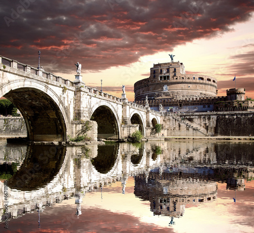 Fototapeta Angel Castle with bridge in Rome, Italy