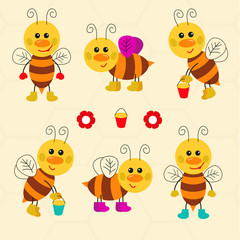 Assortment of funny cartoon vector bees