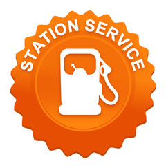 station service sur bouton web denté orange