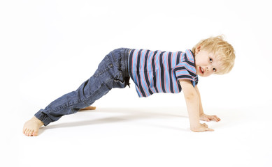 Beautiful child practices yoga