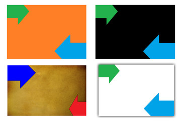 Set of colored backgrounds with two  horizontal arrows