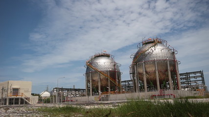 Spherical gas tank in the petroleum refinery