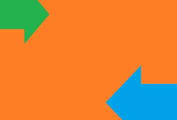 Orange background with two  horizontal arrows