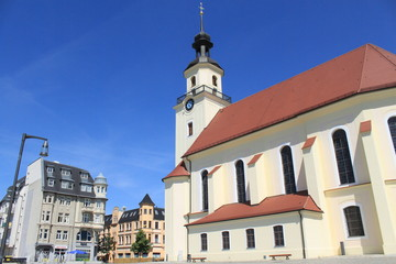 Markt mit St. Nikolaikirche in Forst/Lausitz