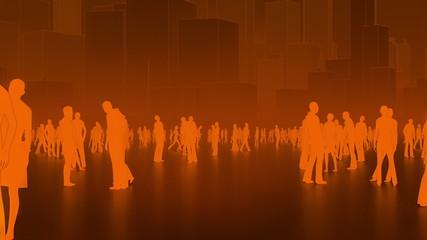 Orange crowd in the city