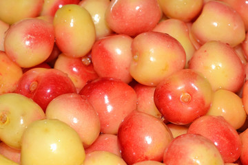 Yellow cherries close up