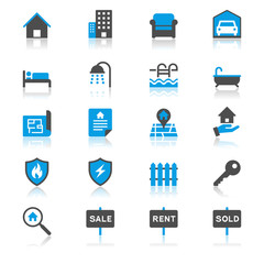 Real estate flat with reflection icons