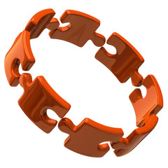 Illustration of open orange puzzle ring