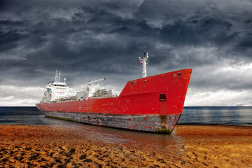 Big ship aground due to a severe storm