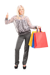 Fashionable woman holding shopping bags