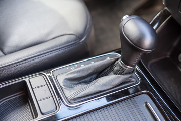 Interior of modern car with automatic gear box