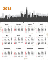 2015 year stylish calendar on cityscape grunge background