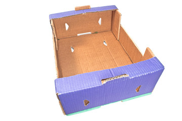 Blue cardboard box isolated on white