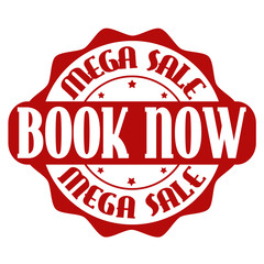 Mega sale, book now stamp or label