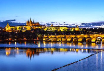Prague castle and bridge at sunset, Czech republic.