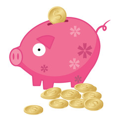 Piggy Bank with Gold Dollar Coins - Illustration