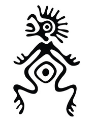 alien in native style, vector illustration