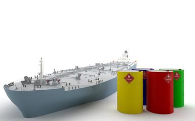 Petrolero y barriles de petróleo - Oil Tanker