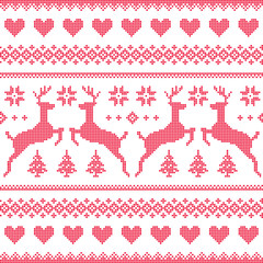 Winter, Christmas red seamless pixelated pattern with deer