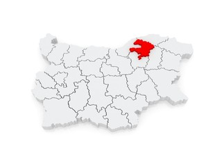 Map of Razgrad region. Bulgaria.