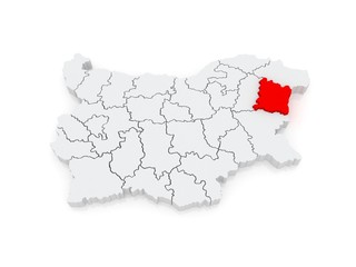 Map of Varna region. Bulgaria.
