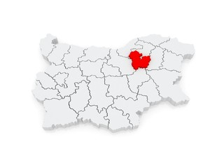 Map of Targovishte region. Bulgaria.