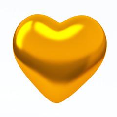 Golden heart shape, 3d