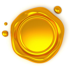 Gold wax seal with blank field, 3d illustration