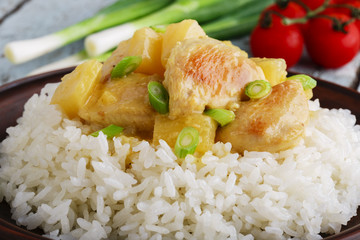 chicken fillet with pineapple and rice