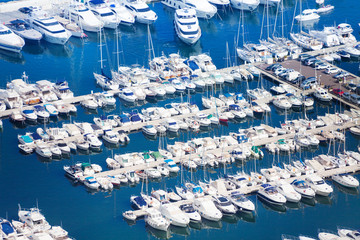 Marina in Monaco on Mediterranean sea