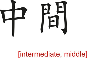 Chinese Sign for intermediate, middle