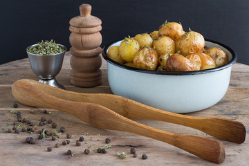 Roasted Baby Potatoes with Savory and Black Pepper