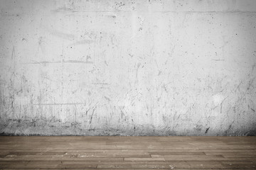 Background interior: concrete wall and wood floor