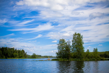 blue sky with clouds and the island in the lake